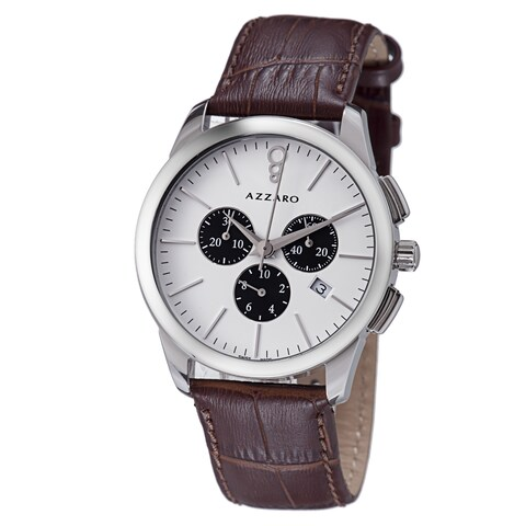 Azzaro Men's 'Legend' White Dial Brown Leather Strap Chronograph Watch