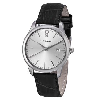 Azzaro Men's 'Legend' Silver Dial Black Leather Strap Quartz Watch