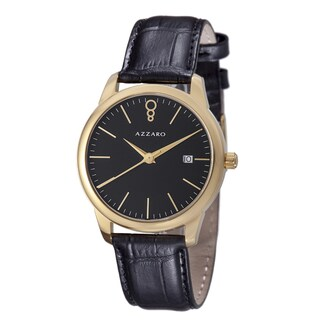 Azzaro Men's 'Legend' Black Dial Black Leather Strap Goldtone Watch