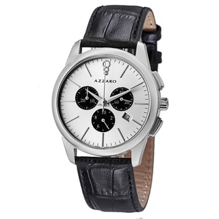 Azzaro Men's AZ2040.13SB.000 'Legend' Silver Dial Black Leather Strap Chrono Watch