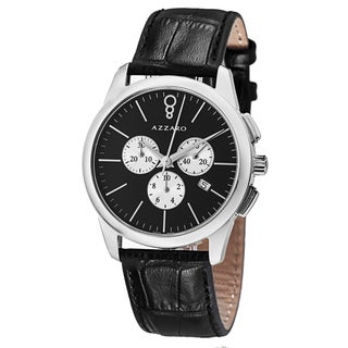 Azzaro Men's 'Legend' Black Dial Black Leather Strap Chronograph Watch