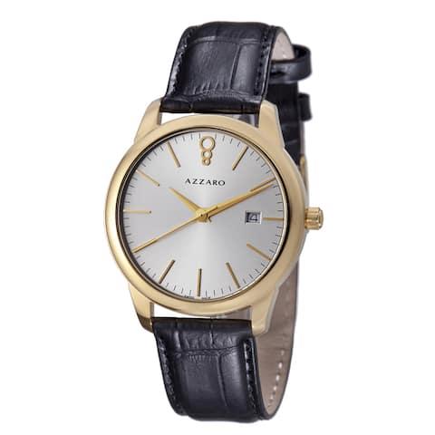 Azzaro Men's AZ2040.62SB.000 'Legend' Silver Dial Black Leather Strap Goldtone Watch