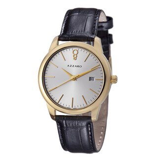 Azzaro Men's 'Legend' Silver Dial Black Leather Strap Goldtone Watch