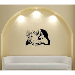 Japanese Manga Girl with Heart Vinyl Wall Art Decal
