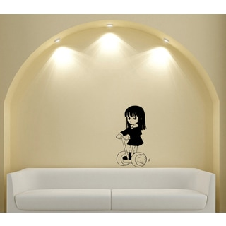 Japanese Manga Little Girl Scooter Vinyl Wall Art Decal