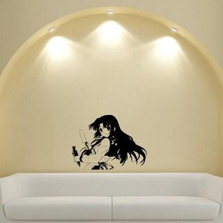 Japanese Manga Girl Knife Carrot Vinyl Wall Art Decal