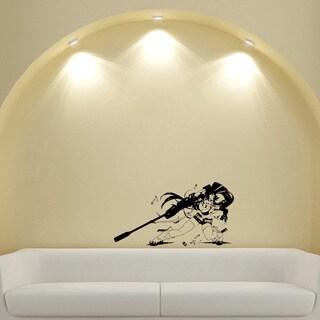 Japanese Manga Girl Rifle Ammo Vinyl Wall Art Decal