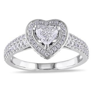 Miadora Signature Collection 14k White Gold 1ct TDW Diamond Heart Engagement Ring (G-H, I1-I2)