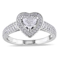 Miadora Signature Collection 14k White Gold 1ct TDW Diamond Heart Engagement Ring