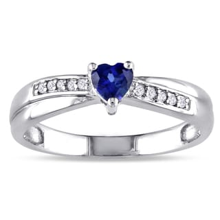 Miadora Sterling Silver Created Sapphire and Diamond Accent Heart Crossover Ring