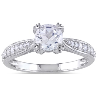Miadora Silver White Sapphire and 1/5ct TDW Diamond Engagement Ring (G-H, I1-I2)