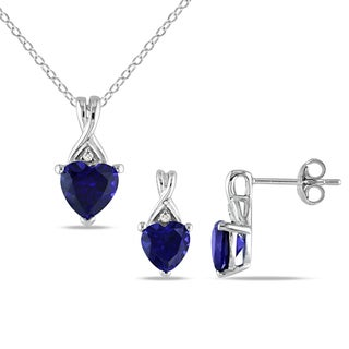 Miadora Silver 2-piece Set of Created Sapphire and Diamond Necklace and Earrings