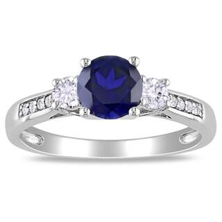 Miadora 10k White Gold Created Sapphire and Diamond 3-stone Ring (H-I, I2-I3)