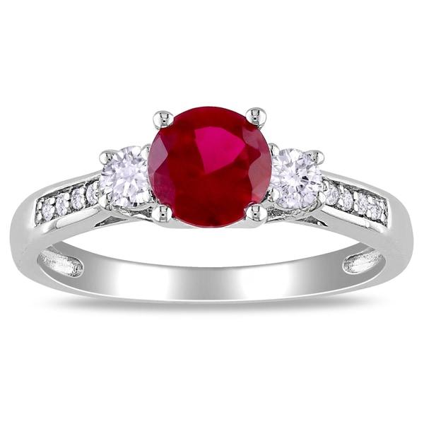 Miadora 10k White Gold Created Gemstone and Diamond Three-stone Ring