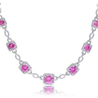 Miadora Sterling Silver Created Pink Sapphire and Diamond Accent Necklace
