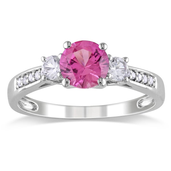 Miadora 10k White Gold Created Pink and White Sapphire and Diamond 3-stone Engagement Ring (G-H, I2-. Opens flyout.