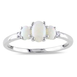 Miadora 10k White Gold Opal and Diamond Three Stone Ring
