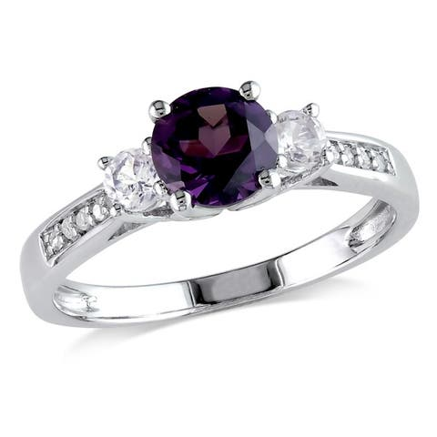 Miadora 10k White Gold Created Alexandrite and Sapphire and Diamond Ring