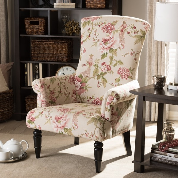 Shop baxton studio kimmett beige pink linen floral accent - Upholstered living room chairs sale ...
