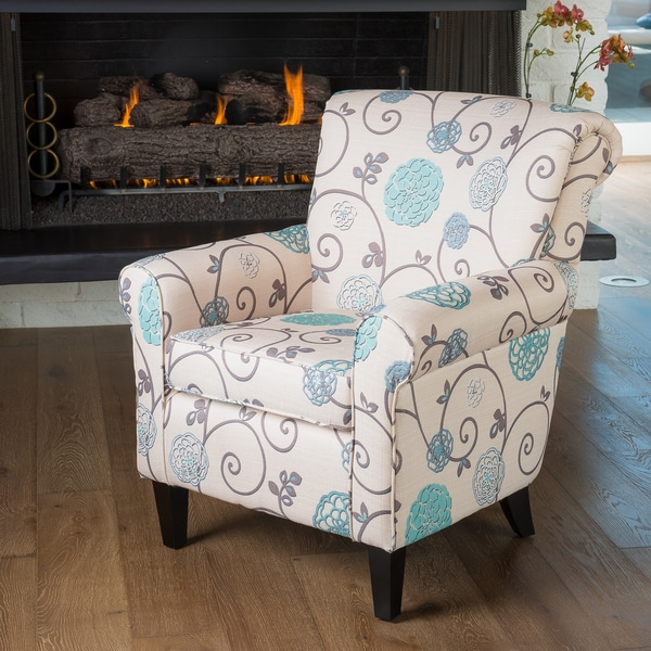 Roseville fabric floral club chair by christopher knight for Types of living room chairs
