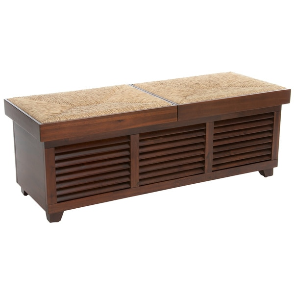 Roderick Weave Top Mahogany Storage Ottoman Coffee Table by Christopher Knight Home