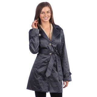 Live a Little Women's Single-Breasted Slate Trench
