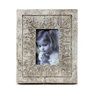 Privilege Distressed White Ceramic Desk Photo Frame