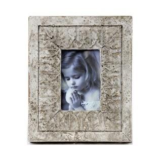 Privilege Distressed White Ceramic Desk Photo Frame