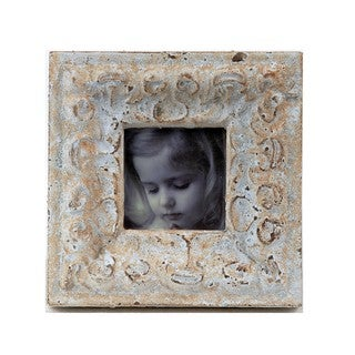 Privilege Square Distressed White Ceramic Photo Frame