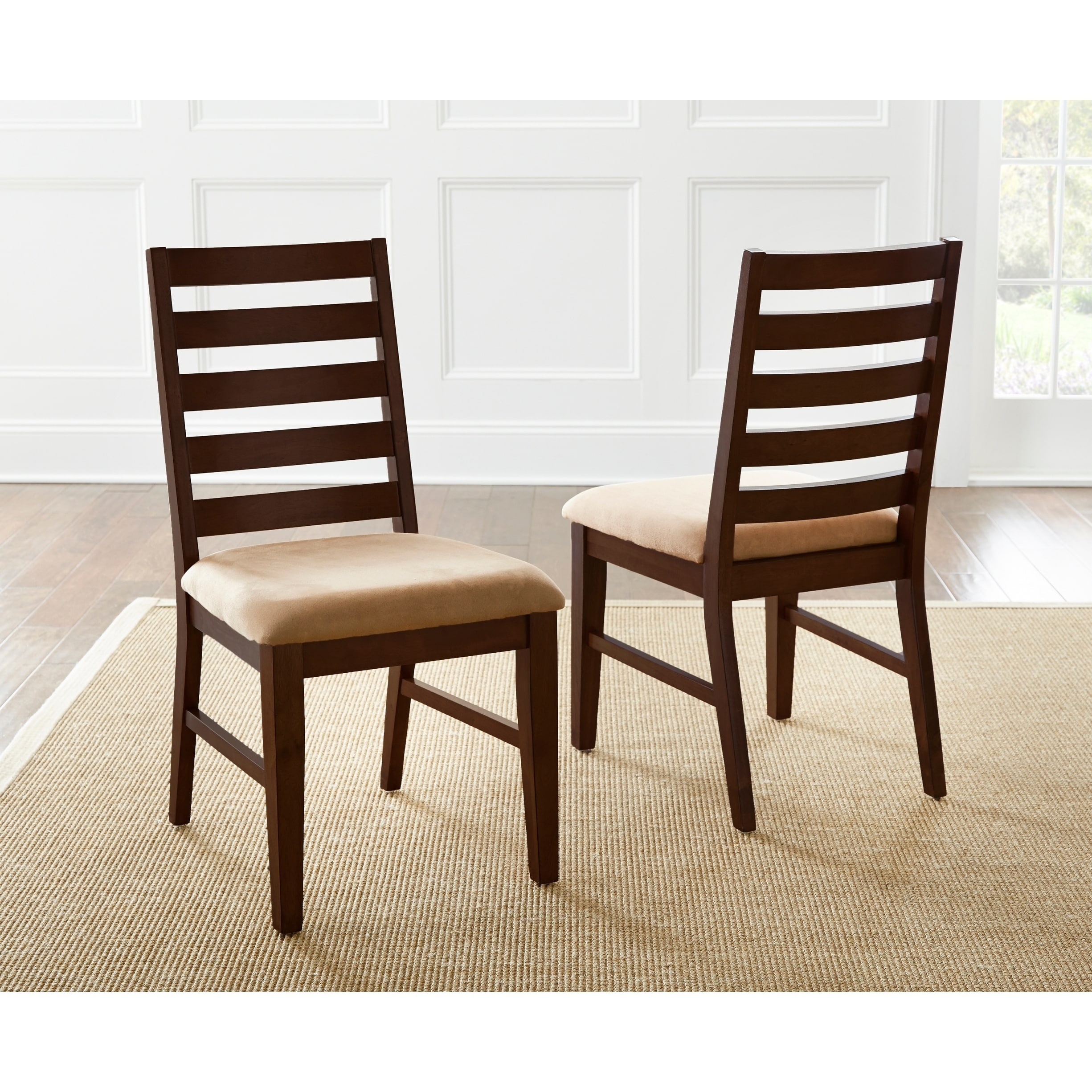 Greyson Living Emery Dining Chairs (Set of 2) (Dining Height - Slat Back/Ladder Back - Traditional - Side Chairs - Upholstered/Wood - Brown)