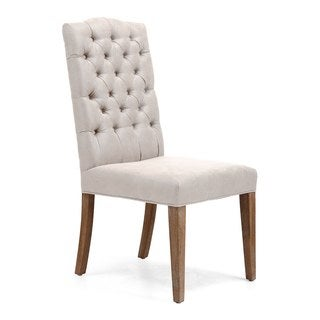 Gough Beige Polyester Linen Wood Legs Dining Chairs (Set of 2)
