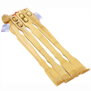 Bamboo Wood 20-inch Therapeutic Back Scratcher with Massage Rollers