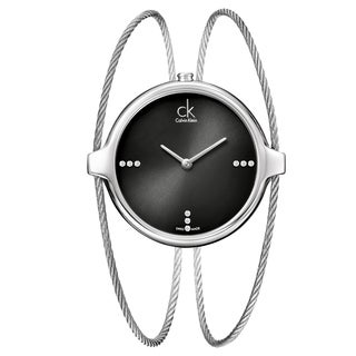 Calvin Klein Women's 'Agile' Stainless Steel Swiss Quartz Watch with Black Dial