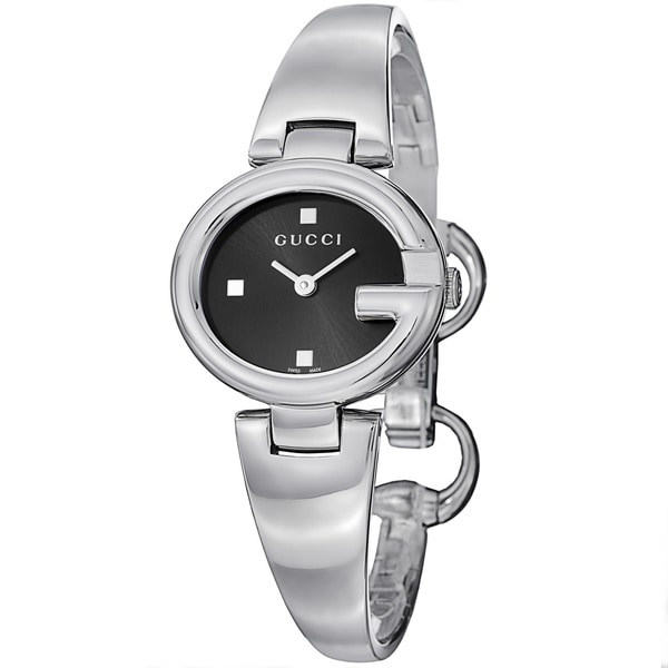 901fe91b90a Shop Gucci Women s YA134501  Guccisima  Black Dial Stainless Steel ...