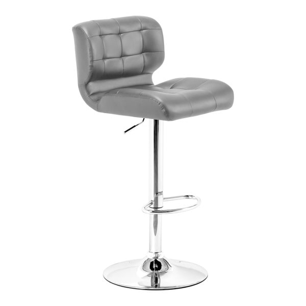 Formula Black Leatherette and Chrome Steel Adjustable Bar Stool