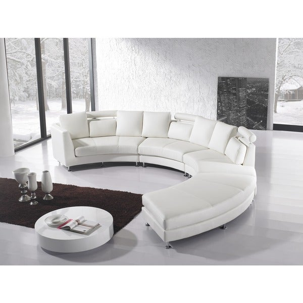beliani rotunde white modern design round leather sectional free shipping today overstock. Black Bedroom Furniture Sets. Home Design Ideas