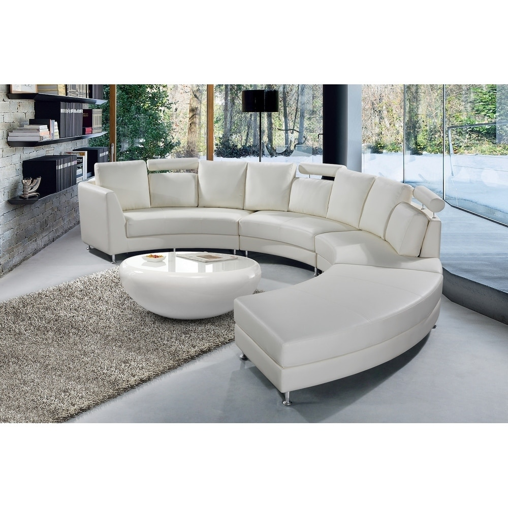 Modern White Leather Circular Sofa - ROSSINI