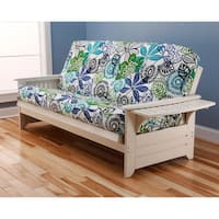 Somette Ali Phonics Multi-Flex Futon Frame in Antique White Wood with Innerspring Mattress