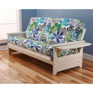 Somette Ali Phonics Multi Flex Futon Frame In Antique White Wood With Innerspring Mattress