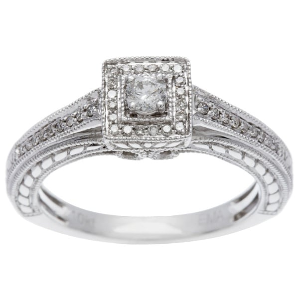 Sofia 10k White Gold 1/4ct TDW Princess Diamond Ring