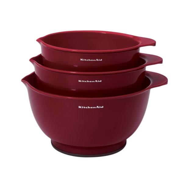 Shop Kitchen Aid Red Plastic 3-piece Mixing Bowl Set - On Sale ... on jonathan adler bowls, lock & lock bowls, french bull bowls, hutzler bowls, general electric bowls, american metalcraft bowls, cardinal glass bowls, oggi bowls, good cook bowls, ore originals bowls, homer laughlin china bowls, hall china bowls, monogram bowls, now designs bowls, corning ware bowls, amy's bowls, signature housewares bowls, anchor hocking bowls, lenox bowls, fortessa bowls,