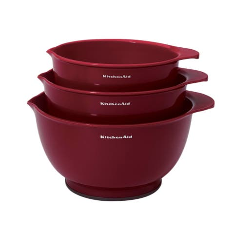Kitchen Aid Red Plastic 3-piece Mixing Bowl Set