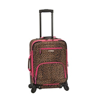 Rockland Deluxe Pink Leopard 20-inch Expandable Carry-On Spinner Upright