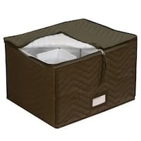 Quilted Brown Microfiber Wine Glass Storage Chest