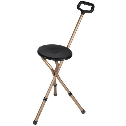 Drive Medical Adjustable Height, Bronze Folding Lightweight Cane Seat