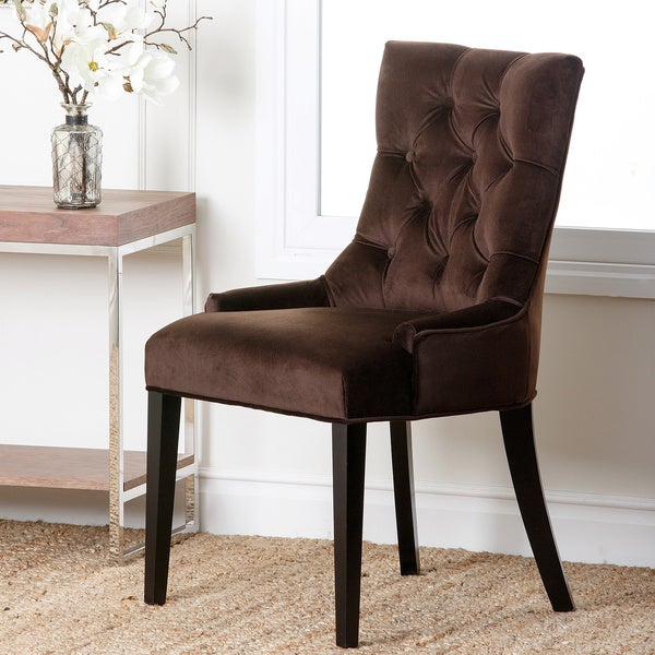 Abbyson Napa Dark Brown Leather Tufted Dining Chair Free