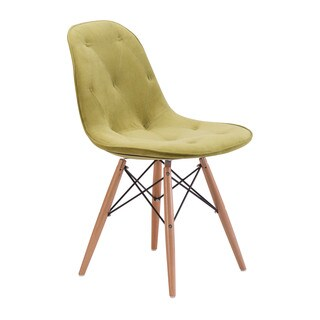 Probability Modern Green Velour and Wood Mid-Century Chair