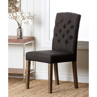 Abbyson Colin Grey Linen Tufted Dining Chair