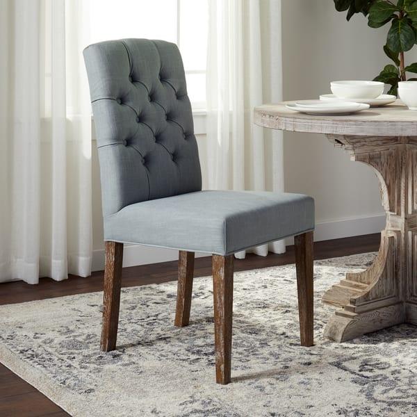 Pleasing Shop Abbyson Colin Seafoam Blue Linen Tufted Dining Chair Bralicious Painted Fabric Chair Ideas Braliciousco