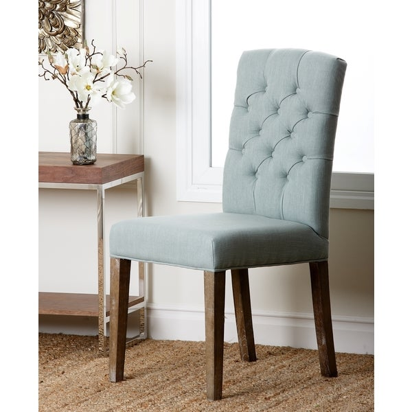 abbyson colin seafoam blue linen tufted dining chair free shipping